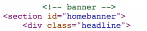HTML code - note the use of English words.